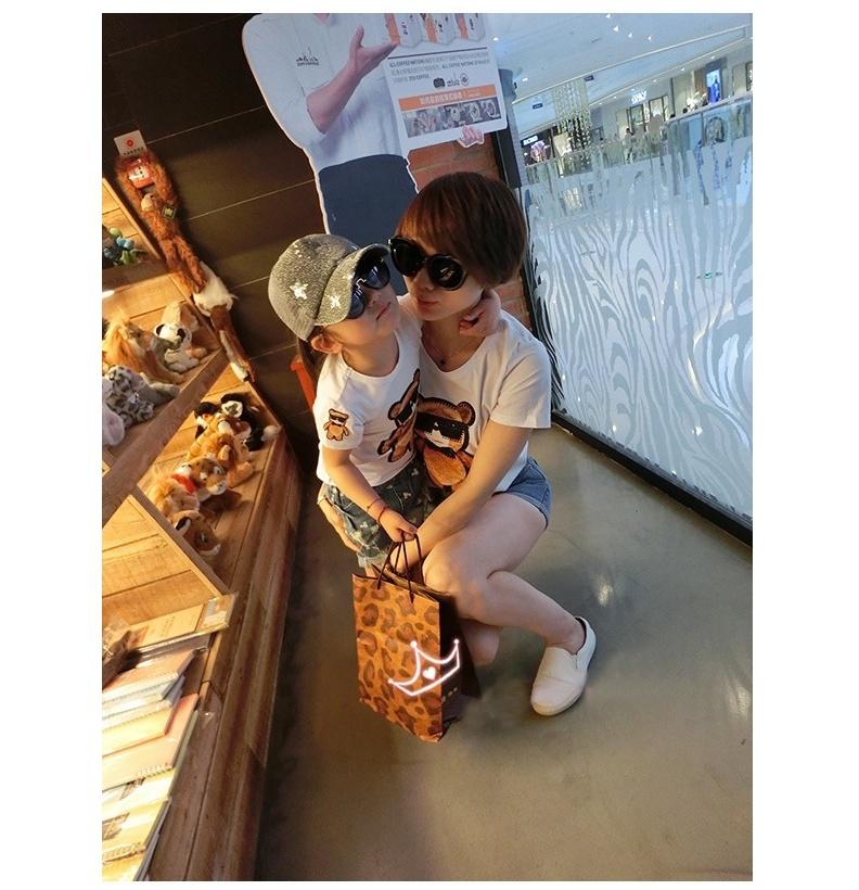 韩版可爱小熊印花亲子装