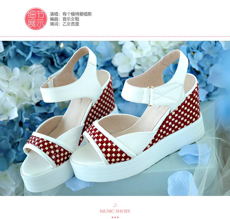 韩版学院风厚底坡跟松糕女凉鞋图片