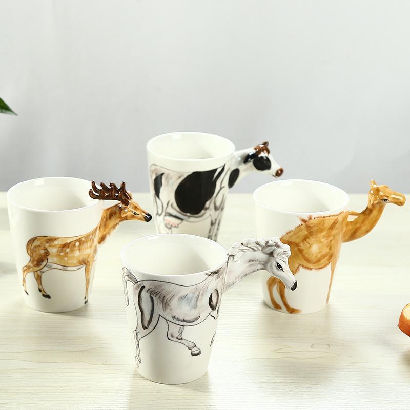 3d立体陶瓷杯纯手绘动物杯 个性彩绘水杯 创意咖啡杯大容量马克杯