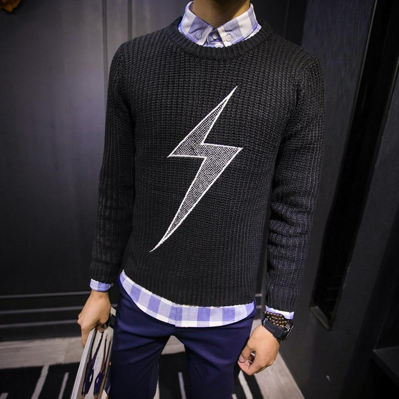 三色加厚闪电图案刺绣毛衣 7.