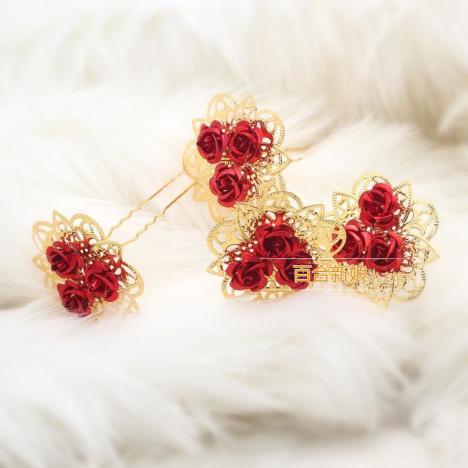 新娘发簪古典花朵古风簪子金色发钗民族风复古宫廷汉服盘发头饰