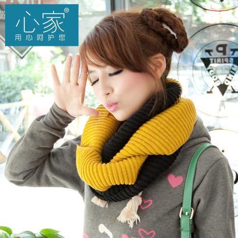 学生俩用男士围巾韩国秋冬双色拼接保暖毛线套头围脖