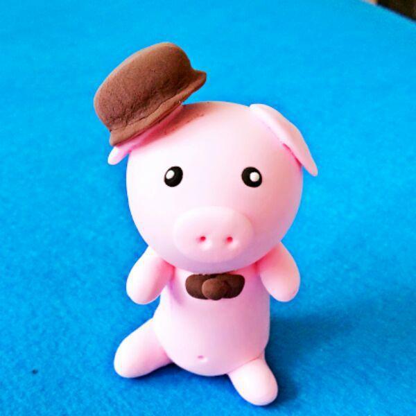 diy超轻粘土作品小猪一只.