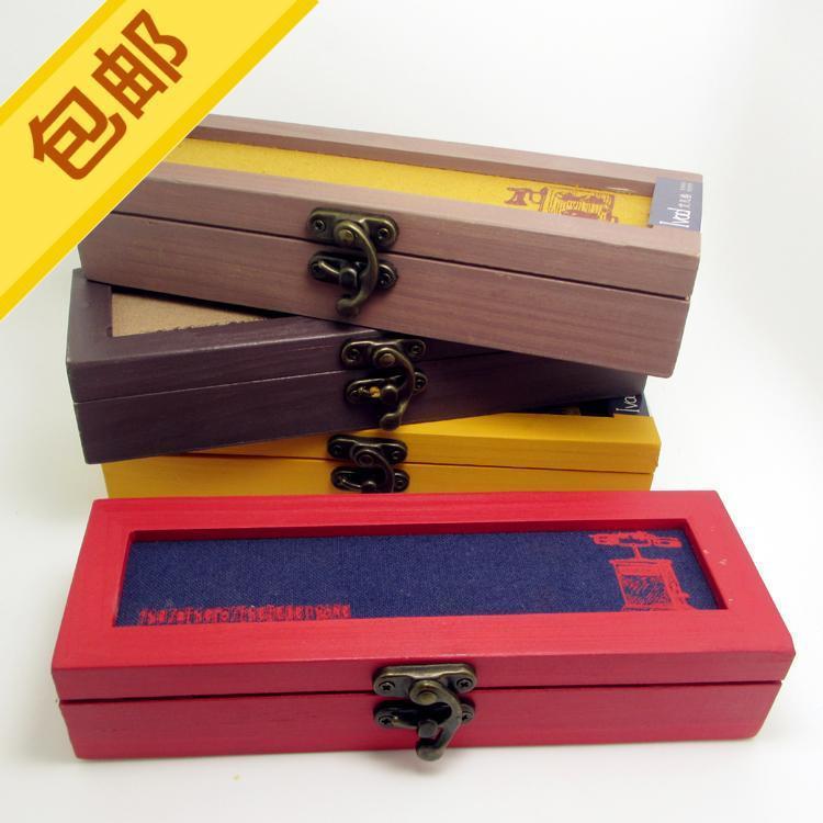 可米包邮日系木质铅笔盒韩版文艺男女文具盒学生创意笔袋多功能图片