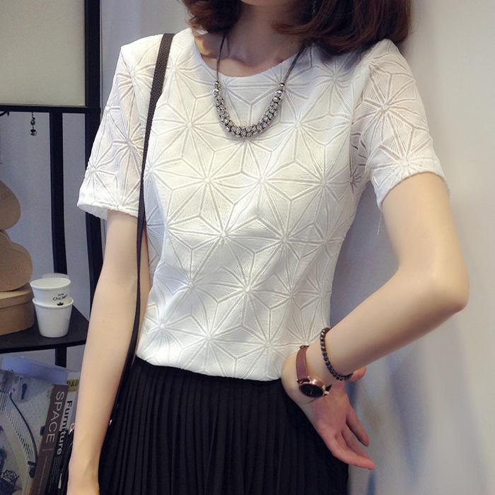 韩版女半袖2016夏装t恤夏18-24周岁蕾丝雪纺衫搭配