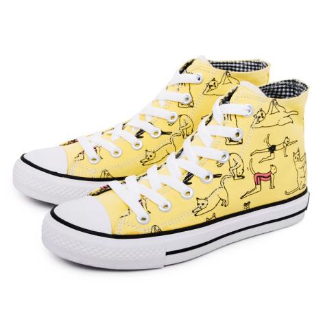 手绘运动猫涂鸦高帮帆布鞋 黄色