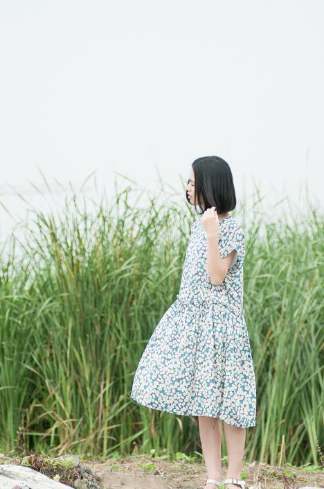 「古早gooza」日系文艺复古清新森系学院风碎花连衣裙