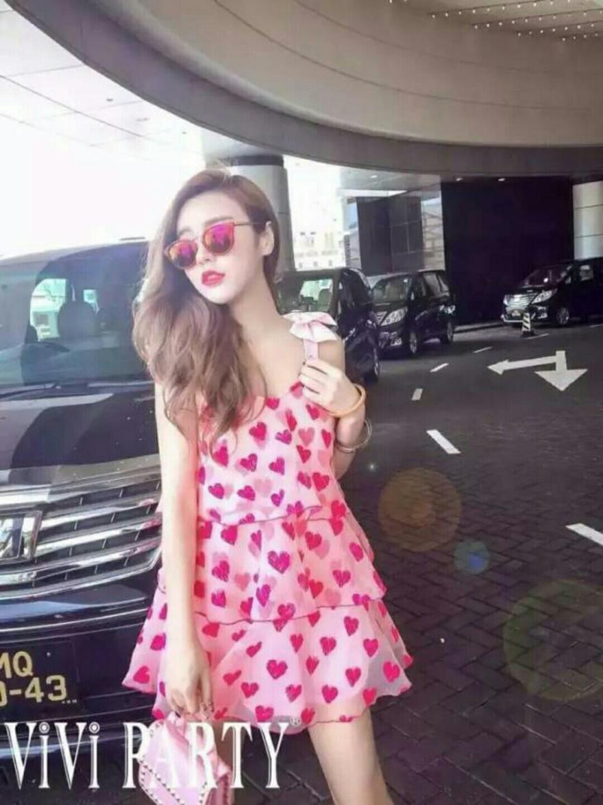 夏装新款8566#泰国潮牌可爱公主萌妹子粉色爱心植绒蝴蝶结蛋糕蓬蓬背