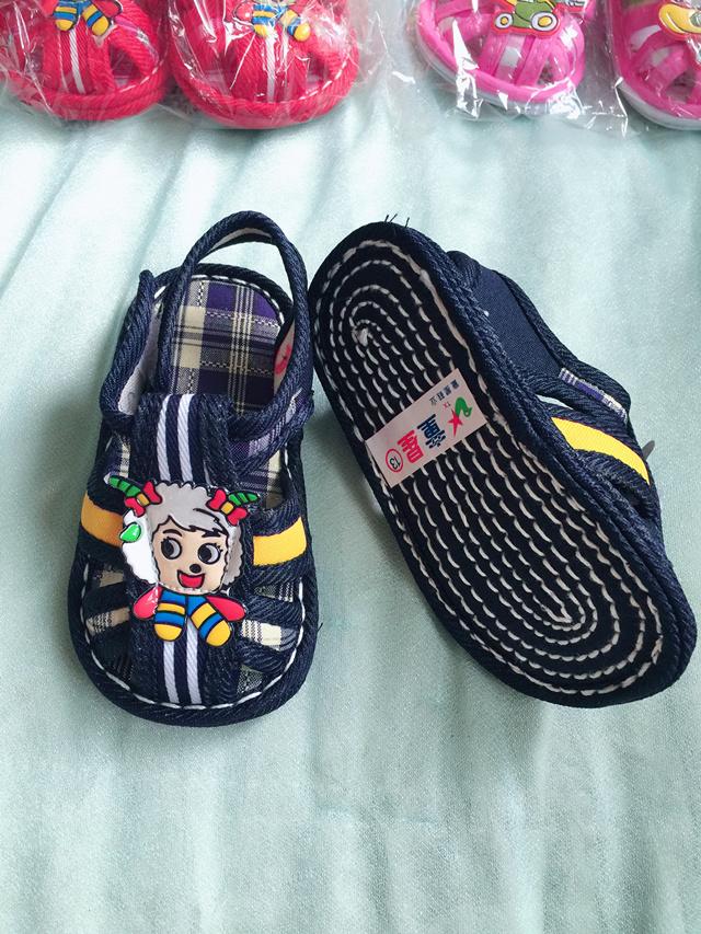 全新纯棉布料舒适手工制作婴幼儿宝宝凉鞋儿童凉鞋学步凉鞋