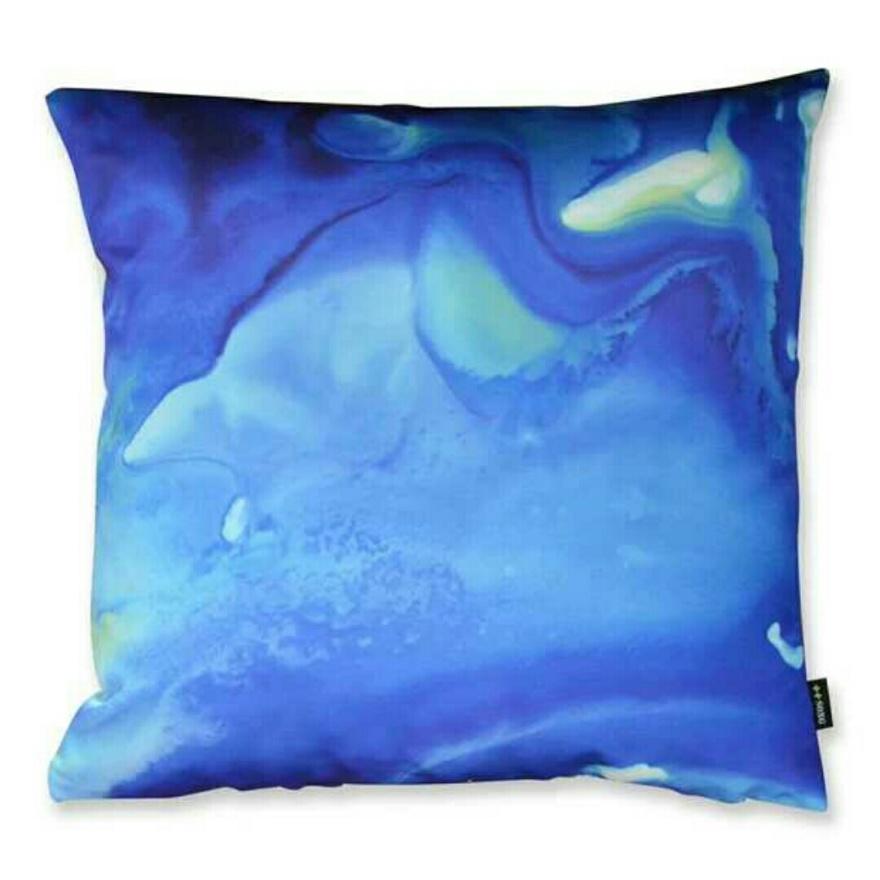 设计师原创蓝色水纹水墨印花抱枕