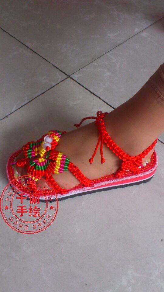 手工编织蝴蝶凉鞋