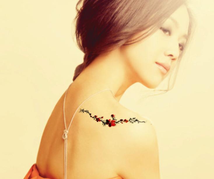 纹身贴纸梅花国画花藤胸口手腕彩色女纹身贴 梅花滕