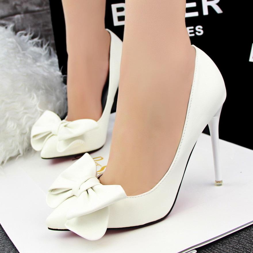 韩版甜美可爱蝴蝶结尖头超高跟单鞋