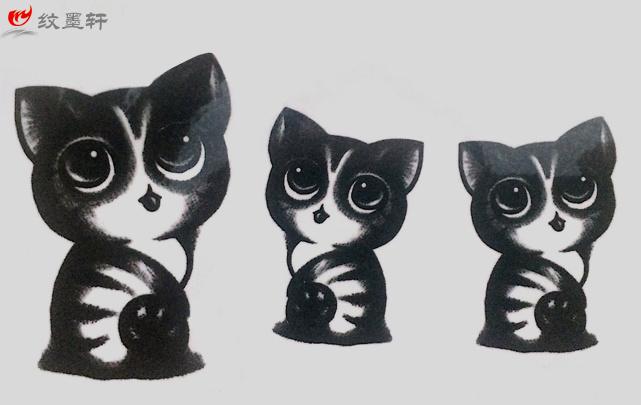 纹墨轩手绘纹身贴纸 黑色萌猫咪胸部手臂肩部 性感防水男女纹身贴