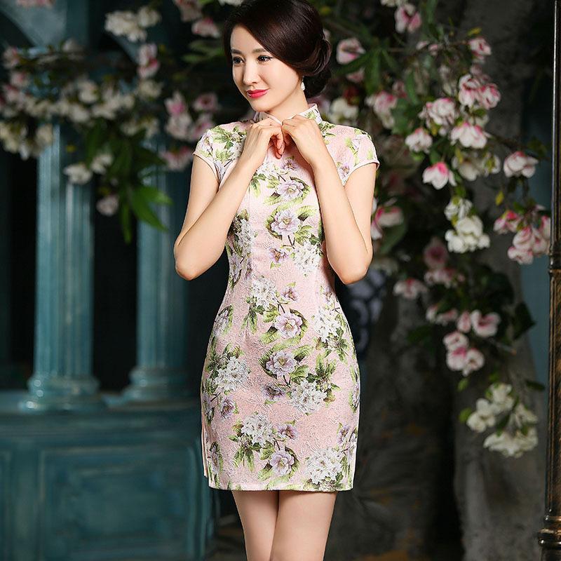 新款棉麻短款旗袍