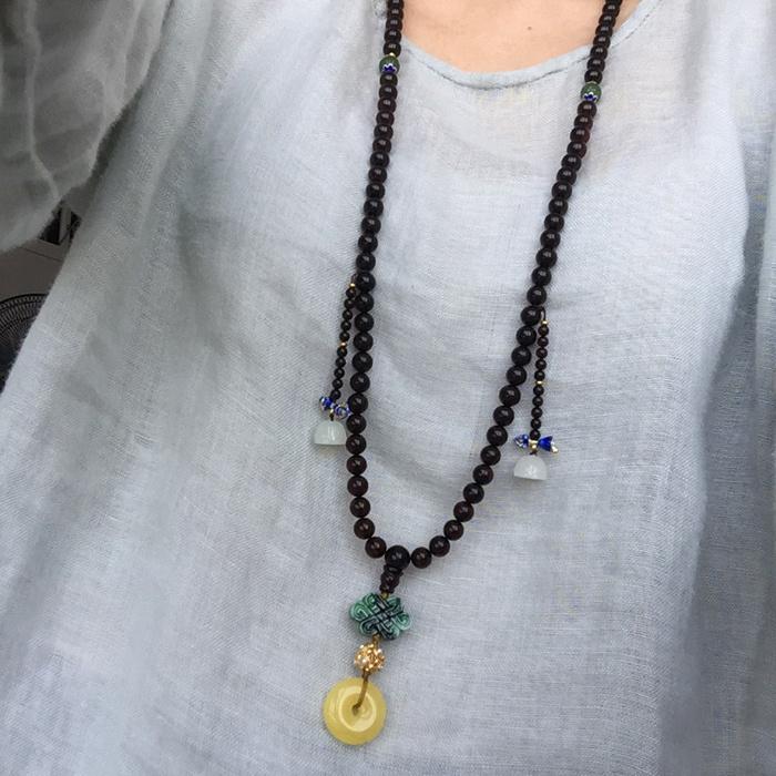 波罗的海血珀手串项链108搭配蜜蜡琥珀平安扣