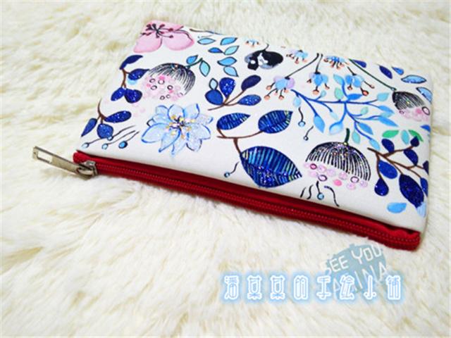 淡彩小清新花朵手绘单层拉链包包/钱包/手机包整体款式