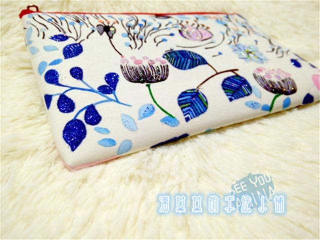 淡彩小清新花朵手绘单层拉链包包/钱包/手机包