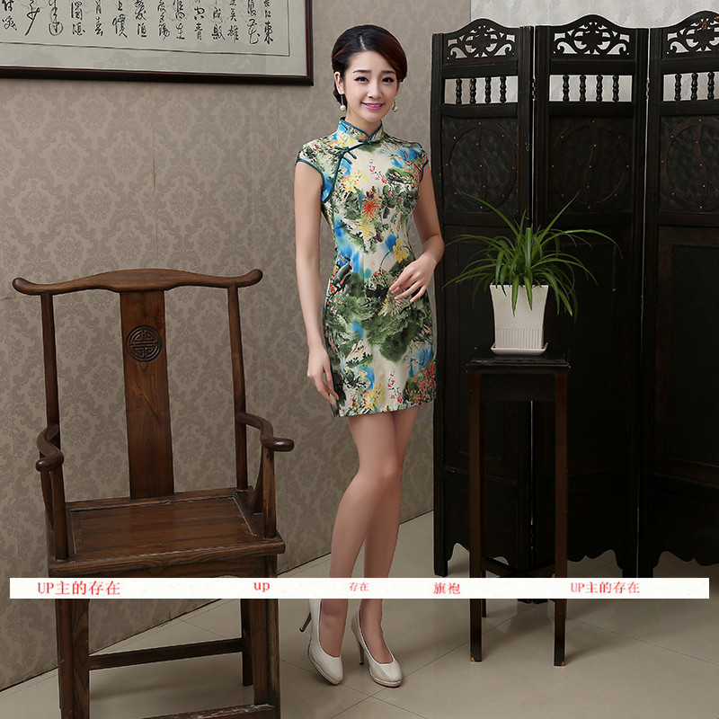 文艺短款旗袍修身连衣裙