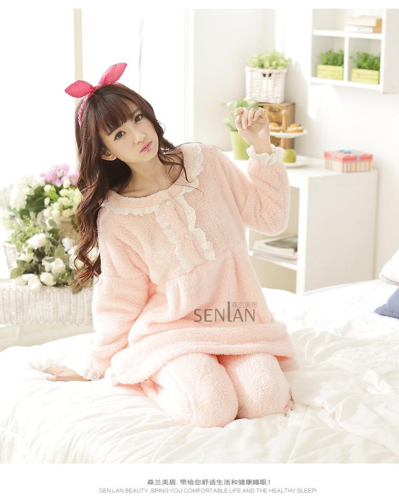 熊家2015冬季新款珊瑚绒圆领甜美可爱加厚睡衣套装
