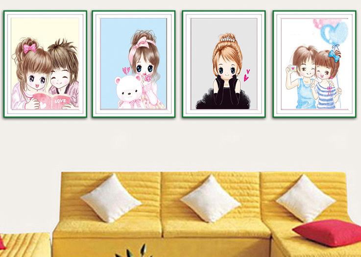5d钻石画方钻女孩儿童卧室