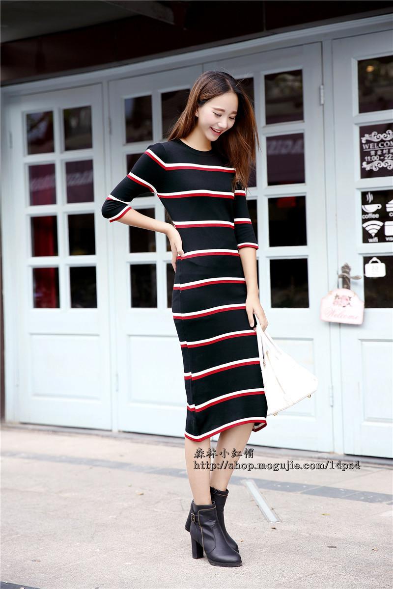 【森林小红帽】韩国东大门 秋款条纹中袖连衣裙