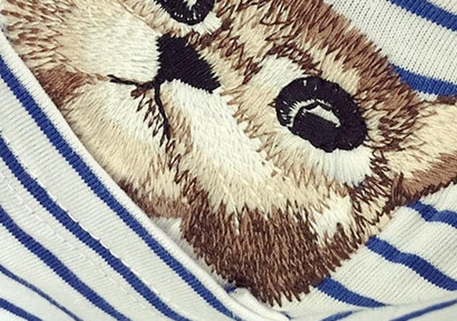 韩版条纹小动物刺绣休闲t