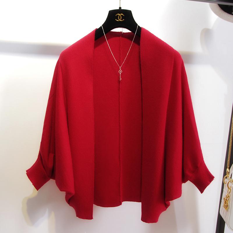 秋装新款女毛衣针织衫开衫外套斗篷披肩