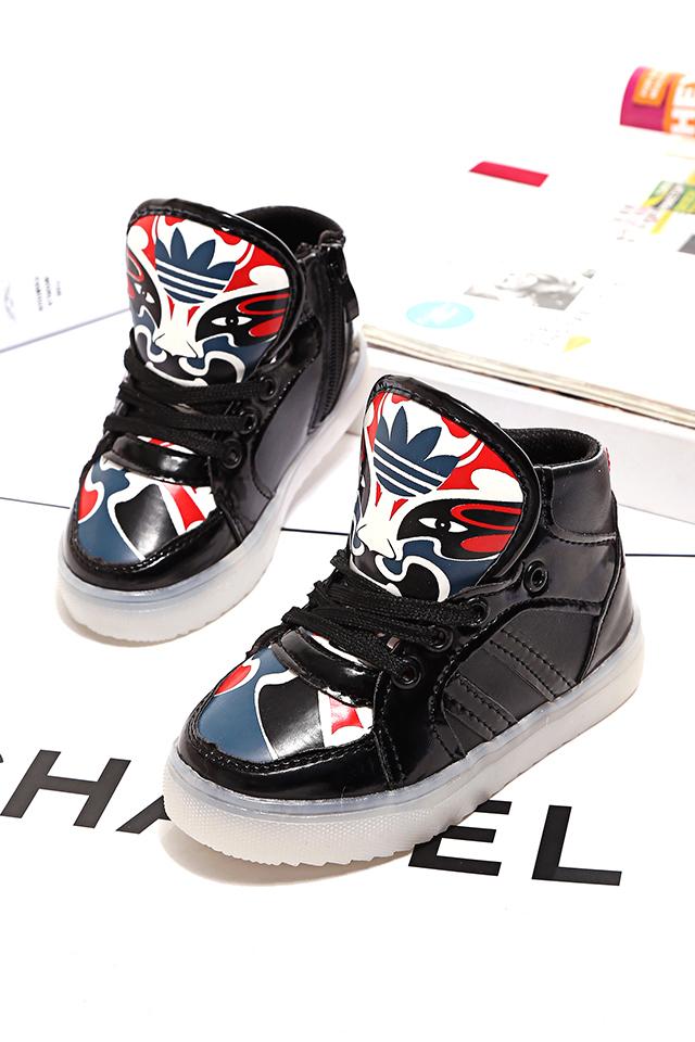 【时尚脸谱儿童发光鞋】-母婴-运动鞋