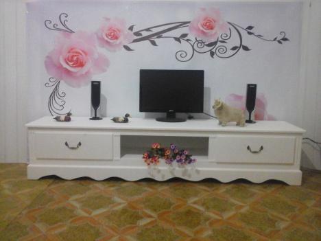 【实木田园欧式电视柜象牙白色电视机柜美式家具卧室