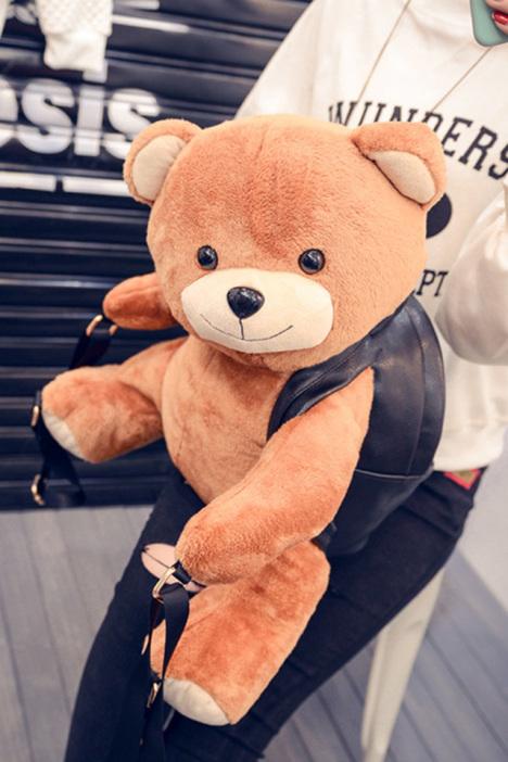 【莫斯奇诺同款超萌可爱毛绒小熊双肩女包】-包包-包
