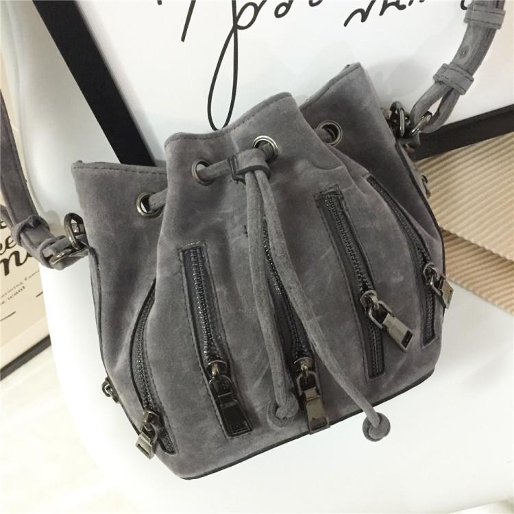 【【美蜜儿】欧美拉链个性水桶包】-包包-女包