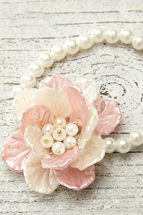 甜美花朵仿珍珠手工串珠腕花手链度假拍照