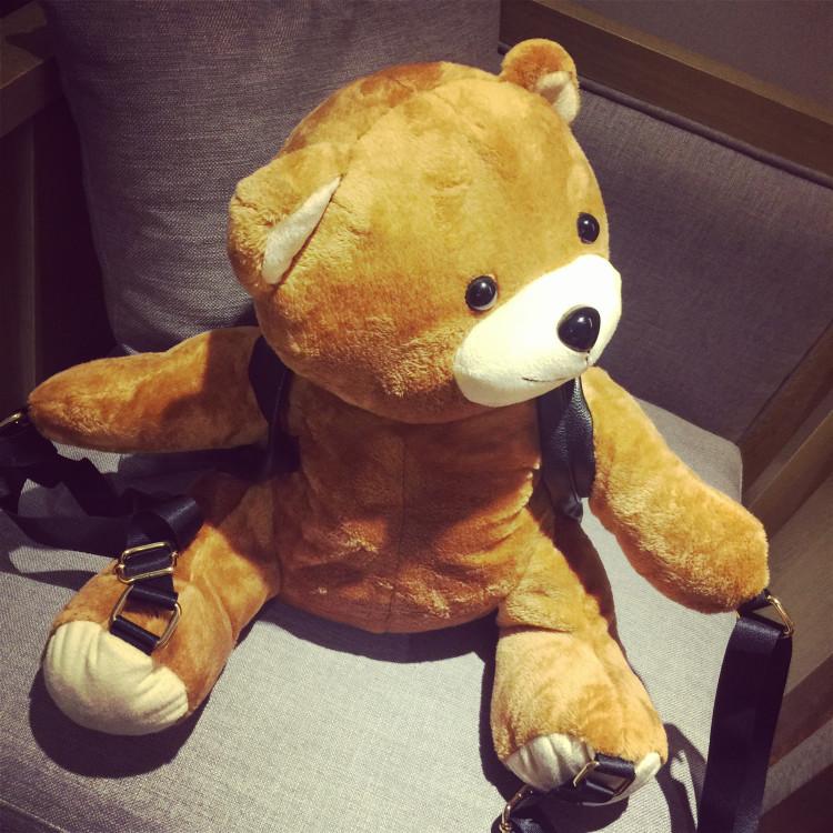 秋冬季新款莫斯奇诺同款可爱小熊背包超萌毛绒泰迪熊亲子双肩包包