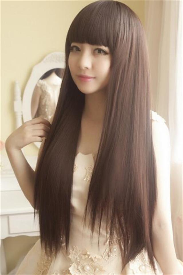 长发气质淑女包脸齐刘海