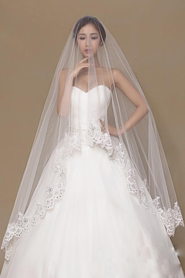 【韩式新娘头纱蕾丝花边3米拖尾超长拖地新款结婚纱