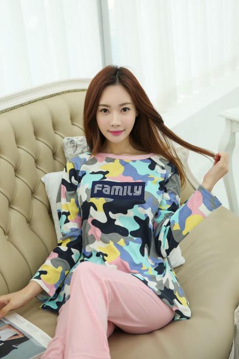 韩国新款春季睡衣可爱小清新迷彩服甜美家居服纯棉套装
