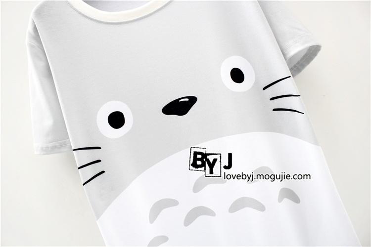 【韩版可爱小清新卡通龙猫休闲女生短袖t恤】-衣服