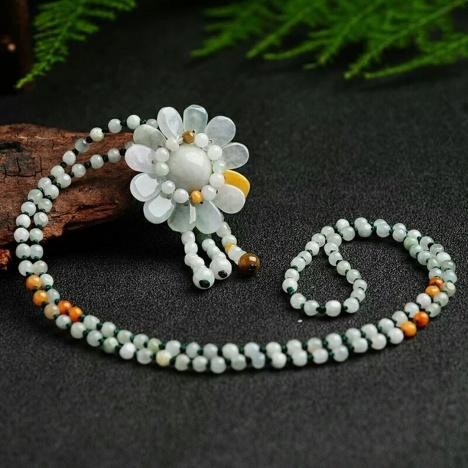 灵玉 缅甸a货手工编织翡翠珠子项链太阳花吊坠 民族风玉石饰品