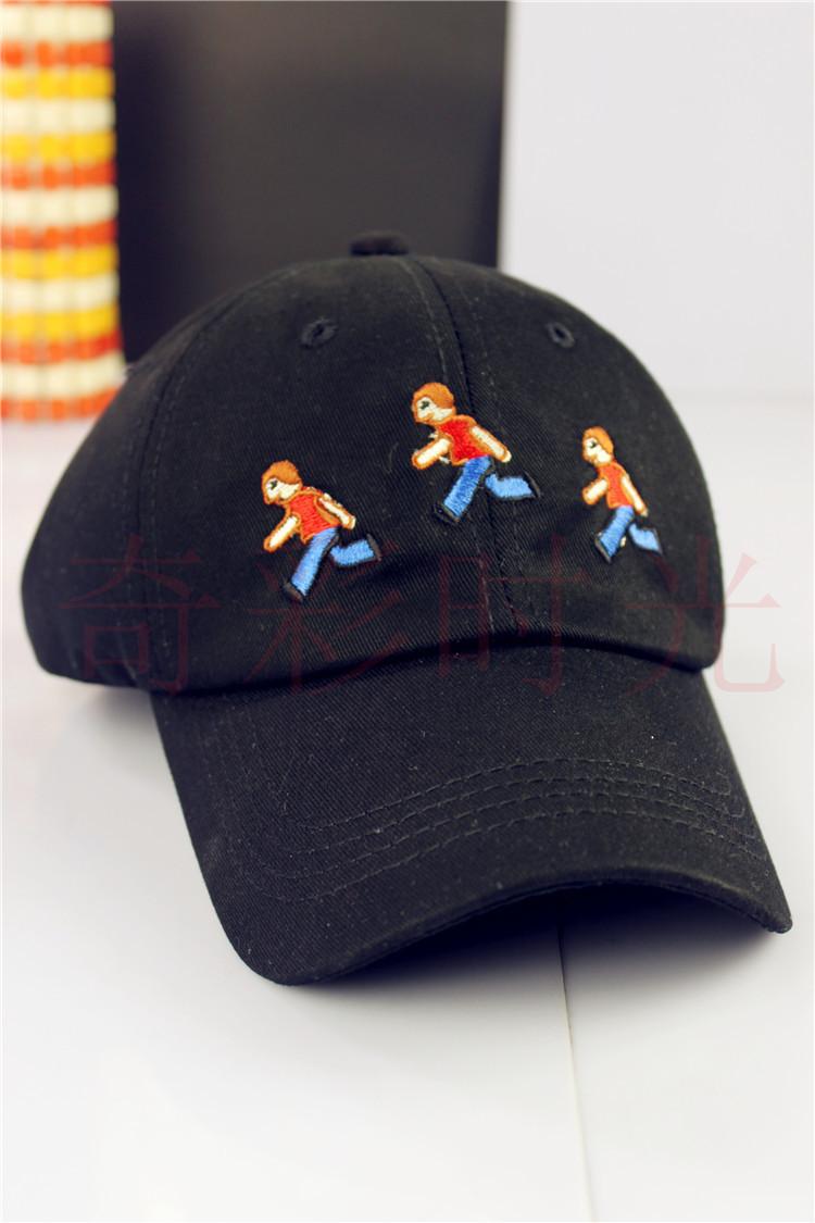 (买二送一)新款韩版可爱小人跑步鸭舌帽