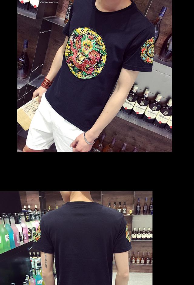 【大妈中国风龙袍刺绣半袖夏季男民族风男士短袖t恤