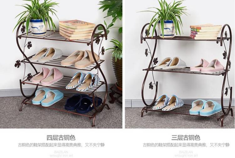 【欧式铁艺鞋架多层落地式隔板置物架铁架折叠收纳鞋