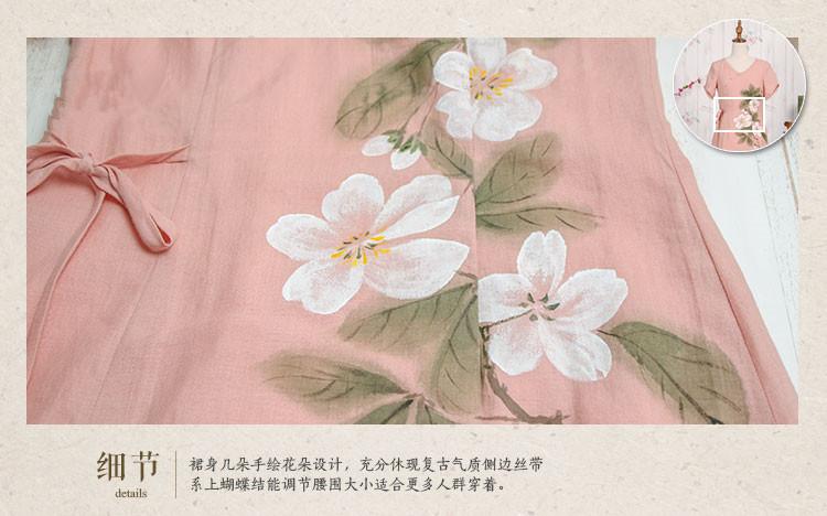 【【郝月上树】2016新款文艺复古蕾丝边v领手绘花纹