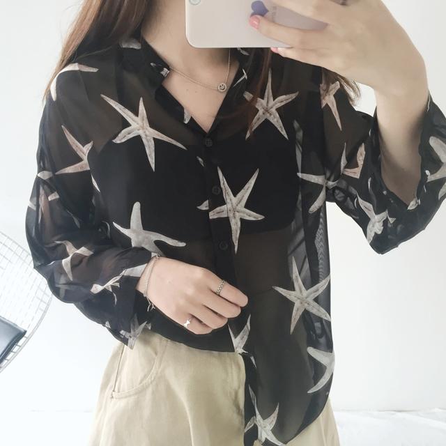 2016夏季新款 星星图案透视衬衫防晒衫