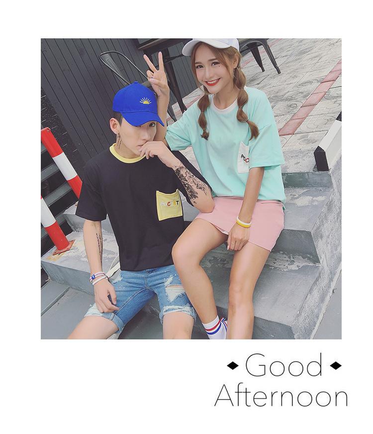 【情侣装韩国原宿bf风纯棉短袖t恤】-衣服-t恤