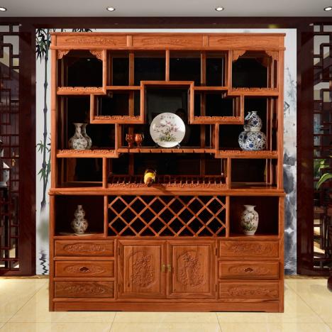 【红木中式酒柜欧式陈列柜非洲花梨木现代客厅高档柜