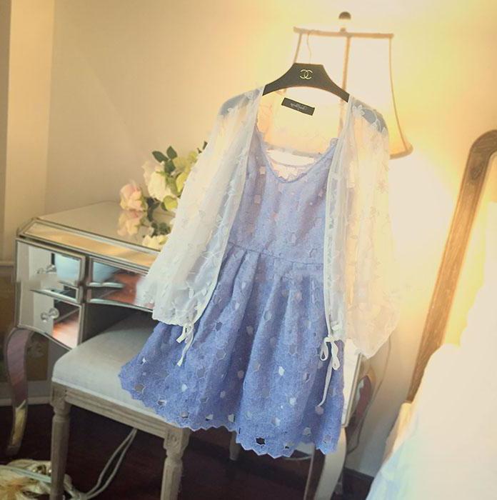【渐变蓝紫防晒衣超薄透视+蕾丝v领吊带连衣裙两件套