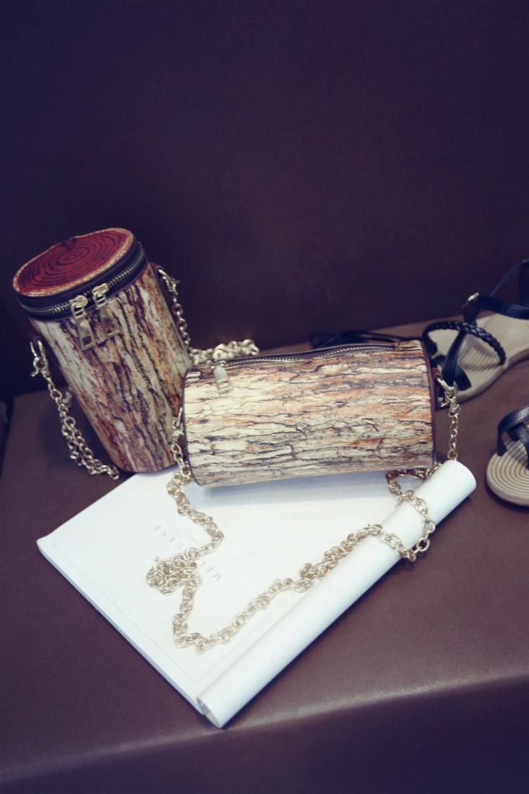 【树皮纹印花水桶包斜跨链条枕包】-包包-女包