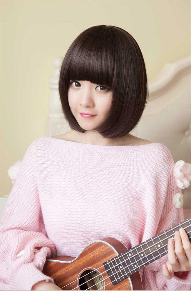 齐刘海可爱短发bobo头 韩国女生高温丝全头套假发