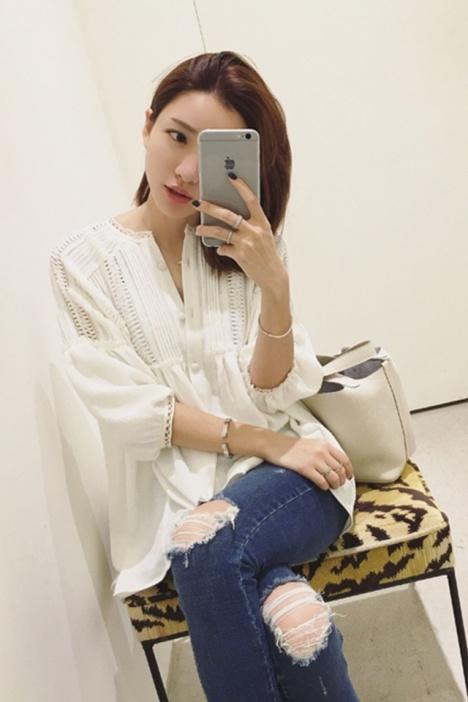 【民族风花边雪纺上衣】-衣服-雪纺衫/蕾丝衫